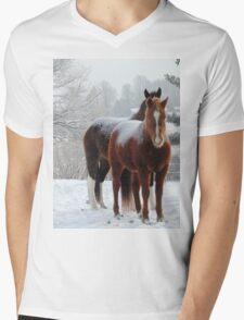Horses in the Snow Mens V-Neck T-Shirt