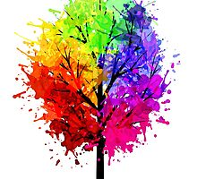 Rainbow Tree With Colour Splats by Annika Thurgood