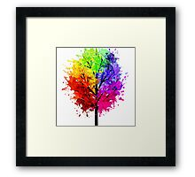 Rainbow Tree With Colour Splats Framed Print