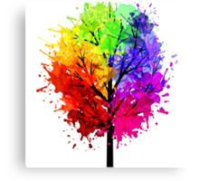 Rainbow Tree With Colour Splats Canvas Print