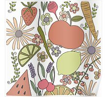fruits vegetables and flower power  Poster