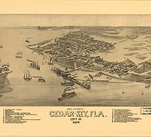 Vintage Pictorial Map of Cedar Key FL (1884) by BravuraMedia