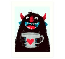 Demon with cup Art Print