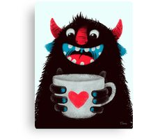 Demon with cup Canvas Print