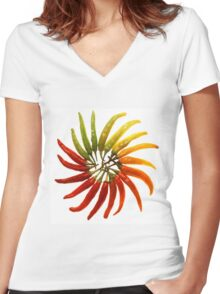 Charleston Hot Peppers Color Wheel Women's Fitted V-Neck T-Shirt