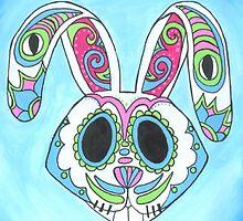 Skull Candy Easter Bunny Sugar Skull by Annika Thurgood