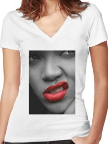 Red Lips Women's Fitted V-Neck T-Shirt