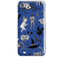 Retro Halloween - blue and grey iPhone Case/Skin