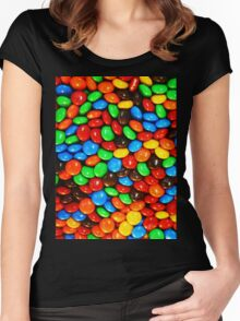 M&M's Pattern Women's Fitted Scoop T-Shirt