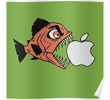 Piranha loves Apple Poster