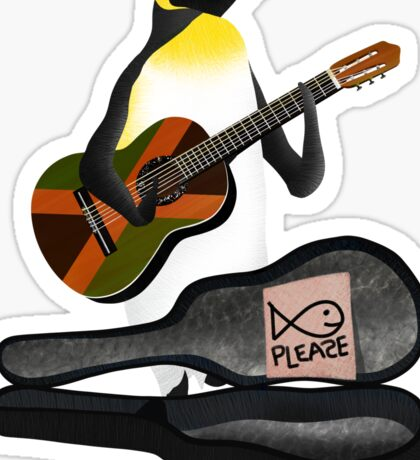 Penguin Busking Sticker