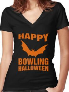 Happy Bowling Halloween T-Shirt, Funny Gift For Men Or Women Women's Fitted V-Neck T-Shirt