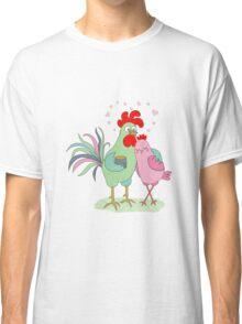Cute cartoon cock and hen Classic T-Shirt