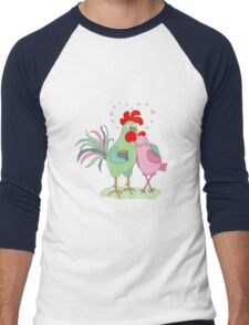 Cute cartoon cock and hen Men's Baseball ¾ T-Shirt