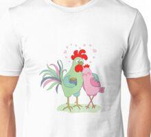 Cute cartoon cock and hen Unisex T-Shirt