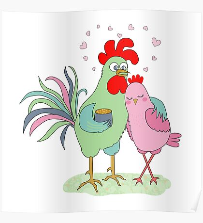 Cute cartoon cock and hen Poster