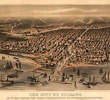 Vintage Pictorial Map of Chicago (1871) by BravuraMedia
