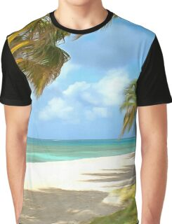 Beach with palm trees and ocean views Graphic T-Shirt