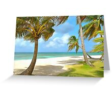 Beach with palm trees and ocean views Greeting Card