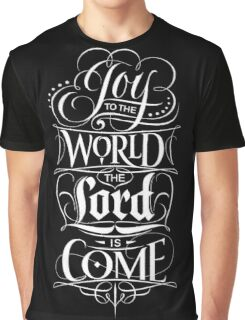 Joy to the World, the Lord is Come - Christian Religious Christmas Carol Chalkboard Lettering Graphic T-Shirt