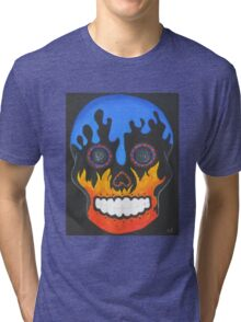Sugar Skull Elements- Fire and Water Tri-blend T-Shirt