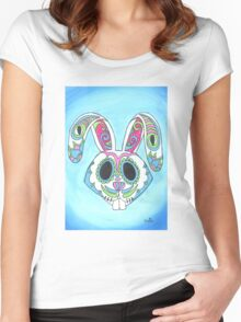 Skull Candy Easter Bunny Sugar Skull Women's Fitted Scoop T-Shirt