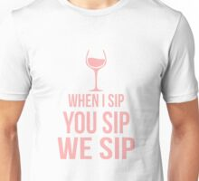 Funny Wine Sipping Design Unisex T-Shirt