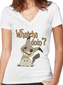 Whatcha doin', Mimikyu? Women's Fitted V-Neck T-Shirt