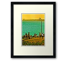 People Enjoyng a Sunny Day in a Park Framed Print