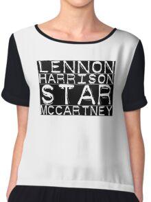 The Beatles Lennon Harrison Starr McCartney Chiffon Top