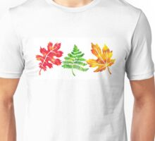 Fall Leaves Watercolor Silhouette I Unisex T-Shirt