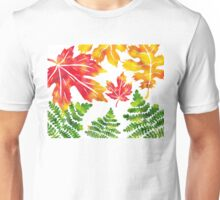Fall Leaves Watercolor Silhouette III Unisex T-Shirt