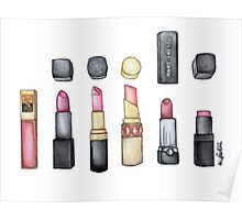 My Lipstick is Poppin' Watercolor Poster