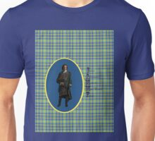 Jamie Fraser on blue, yellow & green plaid Unisex T-Shirt