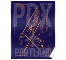 PDX Portland Airport Diagram Poster