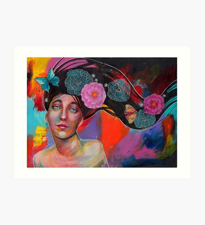 Colorful Butterfly Lady with Flowers Art Print