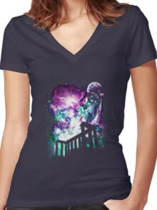 Night of the aurora Women's Fitted V-Neck T-Shirt