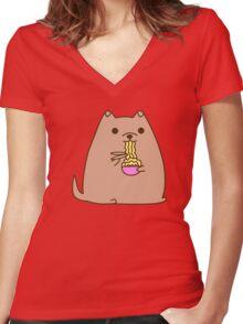 Pupsheen Eating Ramen Women's Fitted V-Neck T-Shirt