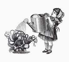 Vintage victorian girl watering magic mushrooms One Piece - Long Sleeve