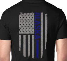 Alaska Thin Blue Line American Flag T-Shirt Unisex T-Shirt