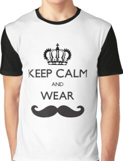 Funny Keep Calm and Wear Mustaches Graphic T-Shirt