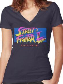 Street Fighter II Turbo Women's Fitted V-Neck T-Shirt