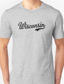 Wisconsin Script Black T-Shirt