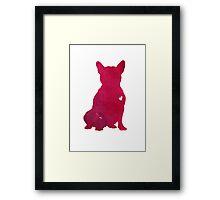 French Bulldog Pink Watercolor Painting Illustration Drawing Poster Framed Print