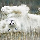 White Lion - Wild In The Grass by Carol  Cavalaris