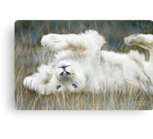 White Lion - Wild In The Grass Canvas Print
