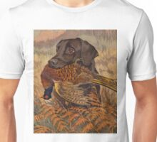 Vintage Chocolate Lab Hunting  Unisex T-Shirt