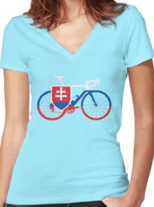 Bike Flag Slovakia (Big) Women's Fitted V-Neck T-Shirt