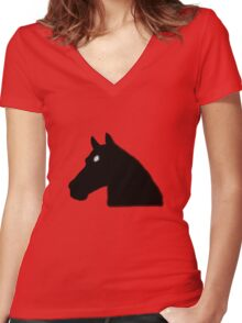 Pony Face Women's Fitted V-Neck T-Shirt