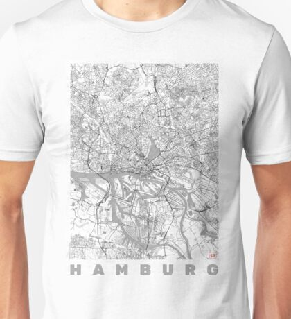 Hamburg Map Line Unisex T-Shirt